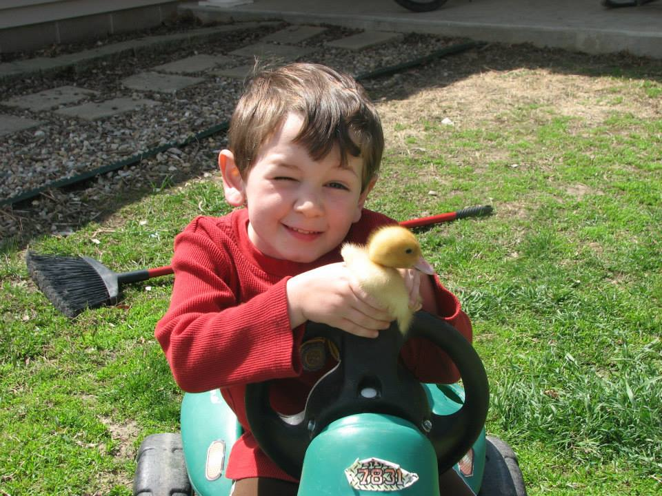 Joshua with duck
